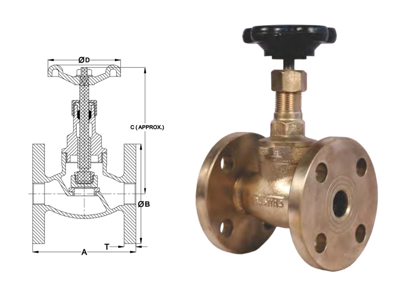 flanged end steam stop valve